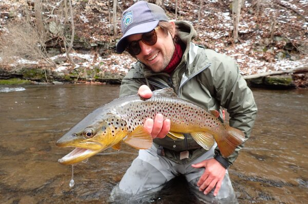 guided fly fishing for big wild trout brown trout pocono mountains filingo fly fishing (1049)
