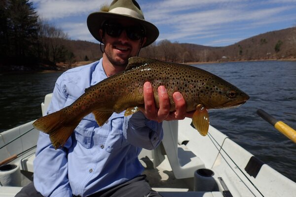 guided fly fishing float trips on the upper delaware river for wild brown trout with jesse filingo of filingo fly fishing (509)