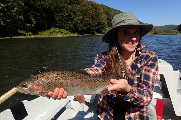 guided fly fishing the delaware river for large rainbow trout with jesse filingo of filingo fly fishing (954)
