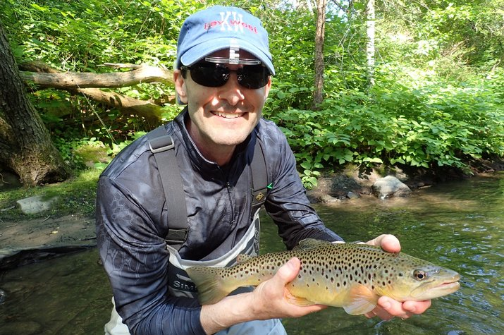 guided fly fishing pennsylvania pocono mountains big brown trout with jesse filingo